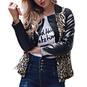 cheap Anime Costumes-Women's Holiday / Going out Street chic / Sophisticated Spring / Fall & Winter Plus Size Regular Leather Jacket, Color Block V Neck Long Sleeve Faux Fur / Faux Leather Print Black XL / XXL / XXXL