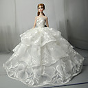 cheap Apparel For Barbie-Wedding Dresses For Barbie Doll Lace Satin Dress For Girl's Doll Toy