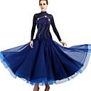 abordables Ropa para Baile de Salón-Baile de Salón Vestidos Mujer Entrenamiento Nailon / Organza / Tul Cristales / Rhinestones Manga Larga Cintura Alta Vestido
