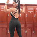 cheap Fitness, Running & Yoga Clothing-Women's Jacquard Romper Jumpsuit White Black Pink Sports Solid Color Spandex Tights Bodysuit Zumba Dance Running Activewear Moisture Wicking Butt Lift 4 Way Stretch Stretchy Skinny