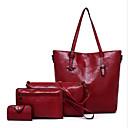 hesapli Çanta Setleri-Kadın's Fermuar Çanta Setleri Çanta Setleri Sığır Derisi 4 Adet Çanta Seti YAKUT / Koyu Gri / Kahverengi
