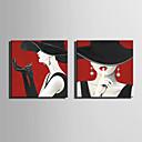 hesapli Tablolar-Boyama Haddelenmiş Kanvas Tablolar Gerdirilmiş Tuval Resimleri - İnsanlar Modern Modern Sanatsal Baskılar