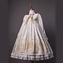 preiswerte Lolita Kleider-Niedlich Niedlich Chiffon Spitze Weiblich Kleid Cosplay Golden Ein Hauch Langarm Midi Kostüme