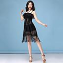 abordables Ropa para Baile Latino-Baile Latino Vestidos Mujer Rendimiento Licra Encaje / Diseño / Estampado / Borla Sin Mangas Cintura Alta Vestido