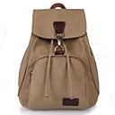 お買い得  バックパック-女性用 バッグ キャンバス バックパック ソリッド 純色 ブラック / コーヒー / カーキ色