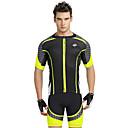 preiswerte Taschenlampen-Nuckily Herrn Kurzarm Fahrradtriktot mit Fahrradhosen - Gelb Geometrisch Fahhrad Shorts / Laufshorts / Trikot / Radtrikot / Kleidungs-Sets, UV-resistant, Atmungsaktiv, Reflexstreiffen Polyester