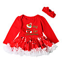 cheap Baby Boys' Clothing Sets-Baby Girls' Active / Basic Christmas / Party / Birthday Print Long Sleeve Above Knee Cotton / Polyester Dress Red 2-3 Years(100cm)
