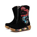 povoljno Ženske čizme-Žene Embroided Cipele Koža Proljeće & Jesen Vintage Čizme Wedge Heel Čizme do pola lista Crn / Zabava i večer