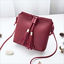 cheap Shoulder Bags-Women's Bags PU(Polyurethane) Shoulder Bag Zipper / Tassel Blushing Pink / Gray / Wine