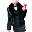 abordables Velos de Boda-Mujer Diario Básico Otoño invierno Corto Abrigo de Piel, Un Color Cuello Vuelto Manga Larga Piel Sintética Blanco / Negro XL / XXL / XXXL