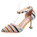cheap Women's Sandals-Women's Pumps PU(Polyurethane) Fall Heels Stiletto Heel Pointed Toe Brown / Blue / Party & Evening / Color Block / Daily / Party & Evening