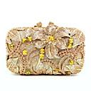 baratos Clutches & Bolsas de Noite-Mulheres Bolsas PU / Liga Bolsa de Festa Detalhes em Cristal / Vazados Côr Sólida Dourado