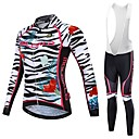 cheap Cycling Jersey & Shorts / Pants Sets-Malciklo Women's Long Sleeve Cycling Jersey with Bib Tights - White / Black Plus Size Bike Jersey Breathable Quick Dry Reflective Strips Sports Lycra Zebra Mountain Bike MTB Road Bike Cycling