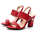 cheap Women's Sandals-Women's Comfort Shoes Nappa Leather Spring Sandals Chunky Heel White / Black / Red