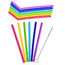 ieftine Pahare Novelty-6pcs / lot de paie de paie de silicon reutilizabile din paie pentru accesorii pentru baruri acasă de petreceri cu gadgeturi cu perie curată
