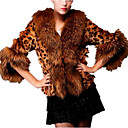 cheap Eyeshadows-Women's Daily Basic Fall & Winter Short Fur Coat, Leopard Fold-over Collar 3/4 Length Sleeve Faux Fur Brown XL / XXL / XXXL