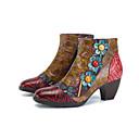 olcso Női csizmák-Női Közepesen magas szárú bakancs Nappa Leather Tavasz & Ősz Vintage Csizmák Vaskosabb sarok Bokacsizmák Gyöngydíszítés Piros