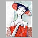 abordables Cuadros de Personas-Pintura al óleo pintada a colgar Pintada a mano - Abstracto / Personas Modern Lona