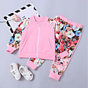 cheap Girls' Clothing Sets-Toddler Girls' Active / Street chic Daily / Sports Floral Print Long Sleeve Short Cotton Clothing Set Pink 2-3 Years(100cm)