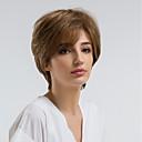 hesapli Bonesiz-İnsan Saçları Kapsız Peruklar Gerçek Saç Doğal Dalgalar Pixie Cut Doğal saç çizgisi Kahverengi Bonesiz Peruk Kadın's Günlük Giyim