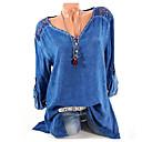 abordables Robe de Patinage-Chemise Femme, Graphique Col en V Bleu XXXL