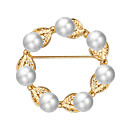 cheap Brooches-Women's Pearl Hollow Brooches - Imitation Pearl Leaf, Flower Luxury, Sweet, Elegant Brooch Gold For Party / Engagement / Gift