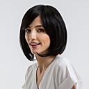 olcso Természetes színű póthajak-Emberi hajszelet nélküli parókák Emberi haj Egyenes Bob frizura Természetes hajszálvonal Fekete Sapka nélküli Paróka Női Hétköznapi viselet