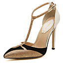 cheap Women's Heels-Women's Pumps PU(Polyurethane) Spring &  Fall Vintage Heels Stiletto Heel Pointed Toe Sparkling Glitter White / Black / Color Block