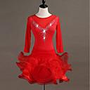 povoljno Odjeća za latino plesove-Latino ples Haljine Žene Trening Spandex / Til Kristali / Rhinestones Rukava do lakta Visok Haljina