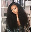 olcso Emberi hajból készült parókák-Remy haj Csipke / Csipke eleje Paróka Brazil haj Afro Kinky / Deep Curly Paróka Aszimmetrikus frizura 130% / 150% / 180% Puha / Női / Egyszerű öntettel Természetes / Fekete Női Hosszú Emberi hajból