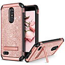 זול מגנים לטלפון & מגני מסך-BENTOBEN מגן עבור LG K10 2018 / K10 (2017) עמיד בזעזועים / עם מעמד / ציפוי כיסוי אחורי זוהר ונוצץ קשיח עור PU / TPU / PC ל LG K10 2018 / LG K10 (2017)