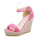 hesapli Kadın Sandaletleri-Kadın's Sandaletler Topuklu Sandaletler Dolgu Topuk PU Yaz Siyah / Yeşil / Pembe