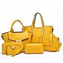 abordables Juegos de Bolsos-Mujer Bolsos PU Conjuntos de Bolsa Set de 6 piezas de monedero Color sólido Morado / Amarillo / Fucsia