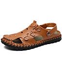 ieftine Sandale Bărbați-Bărbați Pantofi de confort Piele Vară Vintage / Casual Sandale Respirabil Negru / Maro