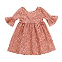 cheap Party Headpieces-Toddler Girls' Active / Sweet Daily / Holiday Floral Lace / Print Half Sleeve Knee-length Cotton / Polyester Dress Pink