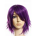 halpa Anime-peruukit-Synteettiset peruukit Suora Tyyli Epäsymmetrinen leikkaus Suojuksettomat Peruukki Violetti Kirkas violetti Synteettiset hiukset 20 inch Miesten Youth Violetti Peruukki Lyhyt Luonnollinen peruukki