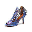 cheap Latin Shoes-Women's Latin Shoes PU(Polyurethane) Sandal Animal Print Slim High Heel Customizable Dance Shoes Blue / Practice