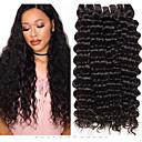 billige Hårvever med ekte hår-3 pakker Brasiliansk hår Deep Curly Ubehandlet hår 100% Remy Hair Weave Bundles Hodeplagg Menneskehår Vevet Hårpleie 8-28 tommers Naturlig Farge Hårvever med menneskehår Myk Silkete Beste kvalitet