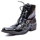 preiswerte Herren Stiefel-Herrn Fashion Boots Lackleder Winter Freizeit / Britisch Stiefel warm halten Mittelhohe Stiefel Schwarz