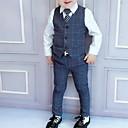 povoljno Svadbeni ukrasi-Djeca Dječaci Ulični šik Karirani uzorak Dugih rukava Regularna Komplet odjeće Plava