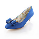 cheap Wedding Shoes-Women's Pumps Satin Fall Wedding Shoes Kitten Heel Round Toe Crystal Purple / Blue / Champagne / Party & Evening