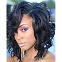 cheap Synthetic Capless Wigs-Synthetic Wig / Synthetic Lace Front Wig Women's Loose Wave / Loose Curl Black Layered Haircut Synthetic Hair 12 inch Soft / Middle Part Sew in / Natural Hairline Black Wig Short Lace Front Natural
