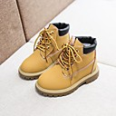 cheap Boys' Shoes-Boys' / Girls' Shoes Cowhide Fall & Winter Combat Boots Boots Lace-up for Kids Yellow