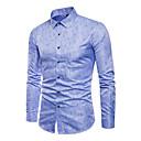 billige Baderomskraner-Bomull Store størrelser Skjorte Herre - Geometrisk Forretning / Grunnleggende / Langermet / Arbeid / Klassisk krage