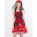 זול תחפושות מבוגרים-ערפדים שמלות נשף מסכות בגדי ריקוד נשים מבוגרים שמלות חג ליל כל הקדושים האלווין (ליל כל הקדושים) נשף מסכות פסטיבל / חג תלבושות אדום סקסית מדפיס