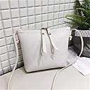 hesapli Çapraz Çantalar-Kadın's PU Omuz çantası Tek Renk Siyah / Kahverengi / Şarap
