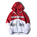 cheap Men's Sneakers-Men's Daily Regular Jacket, Color Block / Letter Hooded Long Sleeve Polyester Black / Red / Navy Blue L / XL / XXL