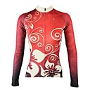 cheap Sleeping Bags & Camp Bedding-ILPALADINO Women's Long Sleeve Cycling Jersey Red Floral Botanical Bike Jersey Top Thermal / Warm Fleece Lining Ultraviolet Resistant Sports Winter Elastane Fleece Mountain Bike MTB Road Bike Cycling