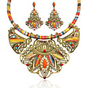cheap Human Hair Wigs-Women's Multicolor Synthetic Diamond Geometrical Jewelry Set Resin, Rhinestone Flower Ladies, Luxury, Bohemian, Ethnic, African Include Drop Earrings Statement Necklace Rainbow For Party Festival