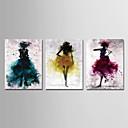 זול הדפסים-דפוס הדפסי בד מתוחים - מופשט אנשים מודרני שלושה פנלים הדפסים אמנותיים